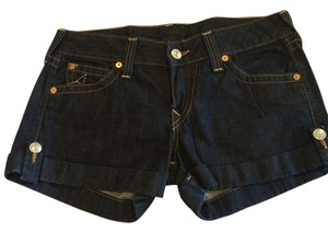 True Religion Cuffed Shorts Dark, solid jean wash