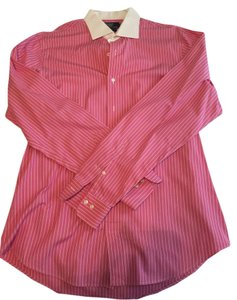 Polo Ralph Lauren Mens Button Down Button Down Shirt Pink & White