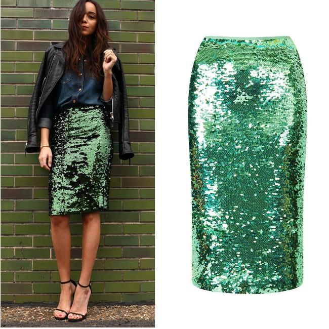 Topshop Pencil Mint Emerald Forest Sequin Mermaid Christmas New Year's Eve Holiday Bodycon Size 2 Skirt green Image 1