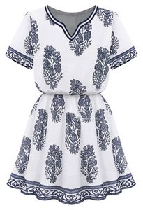OASAP short dress White & Navy Blue on Tradesy