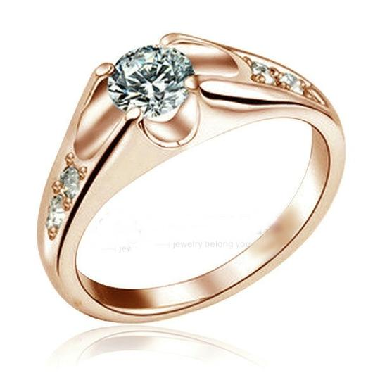 Rose Gold White Sapphire Engagement Ring Free Shipping