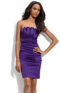 Betsy & Adam Bright Purple Pleat Bodice Stretch Satin Sheath Dress Dress