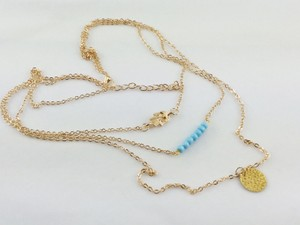 3 Layered Turquoise & Gold Necklace Free Shipping