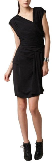 Helmut Lang Draped Silk Asymmetric Lbd Dress