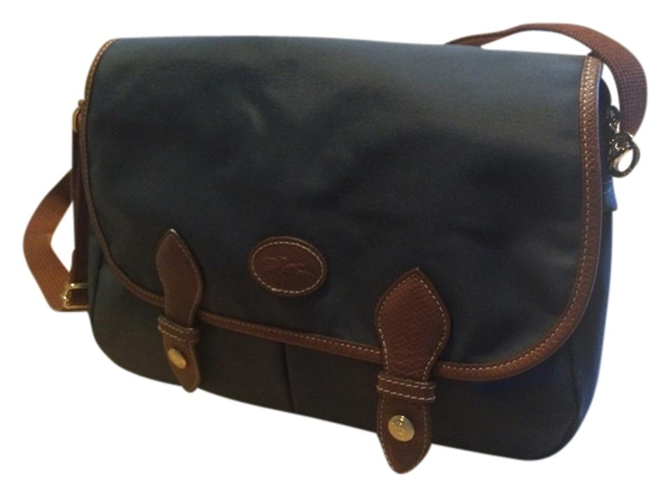 Longchamp Pliage (Discountinued Made In France ) Graphite Nylon Leather  Messenger Bag 55fa56274683a
