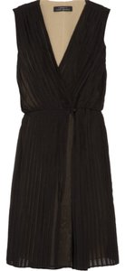 Robert Rodriguez Wrap Silk Chiffon Pleated Dress