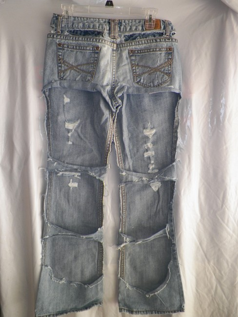 Aeropostale reworked Altered Earth Friendly Punk Biker Trailer Trash Boot Cut Jeans-Distressed