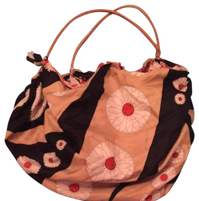 Item - Cream Tan Tomato Red Black Silk Exterior and Cotton Interior Hobo Bag