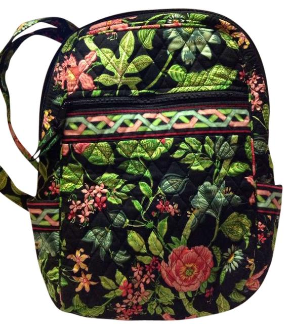 Item - Black with Multi Colored Floral Cotton Backpack