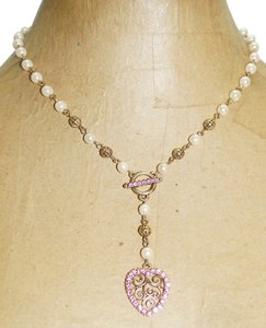 1928 1928 Pink Crystal Rhinestone Heart Pendant Cream Lucite Pearl Gold Tone 16-19