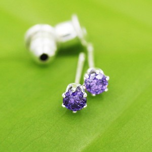 Round Faceted Cut Amethyst Stud Earrings Free Shipping
