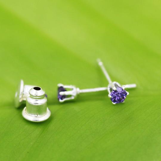 Purple/Silver Bogo Free Small Round Amethyst Stud Free Shipping Earrings