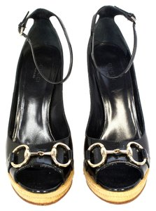 Gucci Ankle Strap Leather Monogram Patent Leather Chrome Straw Gg Soho Noho Horsebit Bit Black Wedges