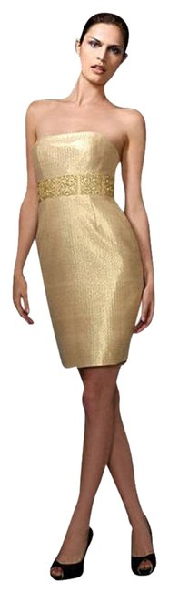 Preload https://img-static.tradesy.com/item/378941/marchesa-notte-gold-lame-tweed-strapless-above-knee-cocktail-dress-size-8-m-0-1-650-650.jpg
