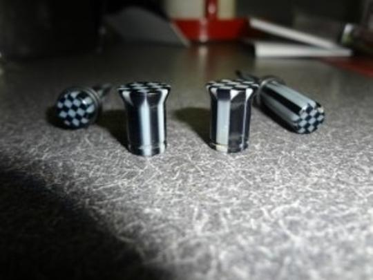 Morbid Metals 0g Gray and black checker print tapers and plugs