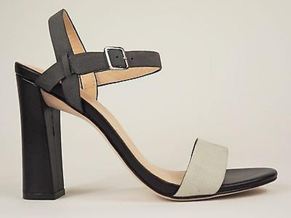 b7d20f8fbfb Cole Haan Minetta Grey Gray Leather Strappy Chunky Sandals Heels Ivory  Pumps ...