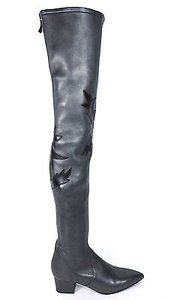 Chanel Runway 14a Black Leaf Motif Over The Knee Dark Grey Boots