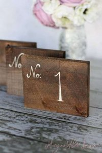 Walnut & Cream Table Numbers Rustic Chic 1 - 7 Tableware