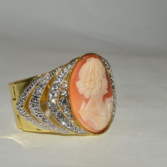 """AMEDEO AMEDEO NYC """"OTTOCENTO"""" 45MM Cornelian Shell Goldtone Crystal-Accented Cameo Arch Bangle Bracelet Fits 7 to 7.5 wrist"""
