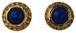 Chanel Chanel Blue Stone Gold Crest Earring CCAV254