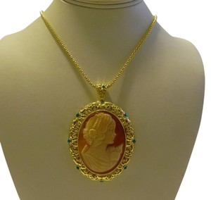 AMEDEO AMEDEO NYC 45mm Cornelian Shell & Crystal Floral/Pin Pendant w/Chain (New without Tags)