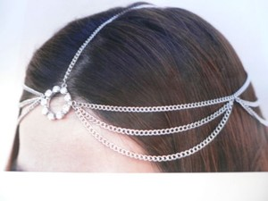 N Women Silver Head Metal Chain Fashion Jewelry Grecian Circlet Rhinestones Ring