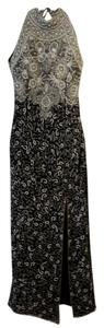 Adrianna Papell Vintage Sequin Pearl Black Evening Sophisticated Silk Dress