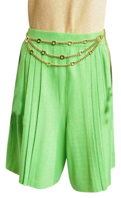 Item - Lime Green Knits Santana with Pleats High-waisted Shorts Size 14 (L, 34)