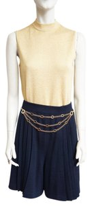 St. John Knits Knits Pleats High-waisted Sz 12 Skort Santana Shorts Navy