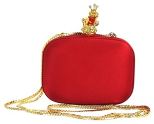 Love Moschino Satin Gold Crossbody Red Clutch