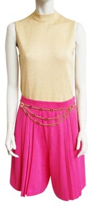 St. John Knits Knits Santana Pleats High-waisted Sz 8 Skort Shorts Pink