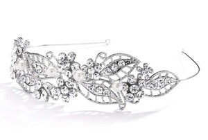 Mariell Filgree Crystal And Pearl Wedding Headband