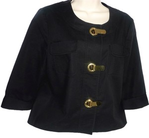 Michael Kors Cotton Logo Gold Hardware Grommet Black Jacket