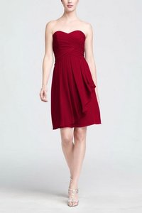 David's Bridal Apple Red Crinkle Chiffon With Front Cascade Dress