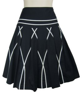 Anthropologie 50s Pleated Full Skirt black, white
