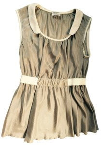 Philosophy di Alberta Ferretti Silk Empire Waist Top Beige and White
