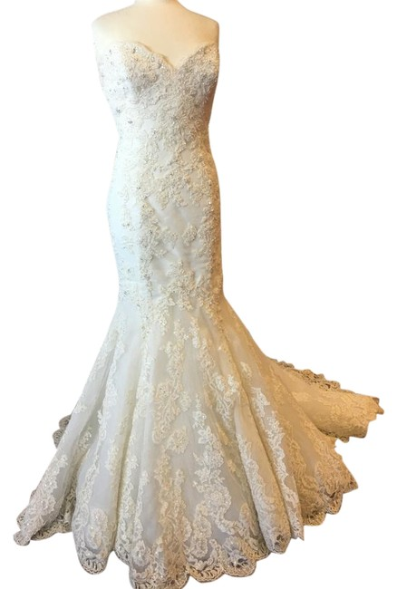 Enzoani Ivory Lace Over Tulle Jenny Formal Wedding Dress Size 14 (L) Enzoani Ivory Lace Over Tulle Jenny Formal Wedding Dress Size 14 (L) Image 1