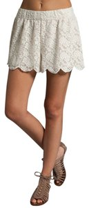 Free People Lace Scalloped Mini/Short Shorts Ivory/Cream