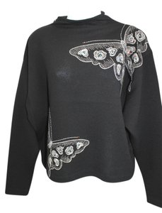 St. John Evening Embellished Embroidered Black Knit Jacket