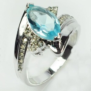 Marquis Cut Blue Topaz Fashion Ring Free Shipping