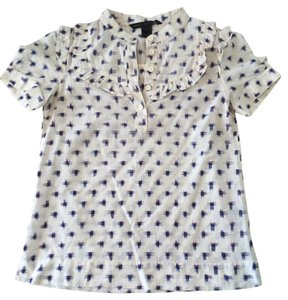 Marc by Marc Jacobs Cute Top Beige with Blue squares & tiny red lines