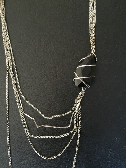 Other Silver and Black Stone Multi Strand Necklace