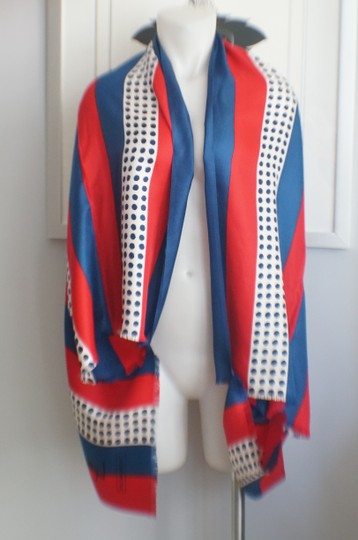 Saint Laurent YSL Designer Vintage Red White Blue 4th of July Silk Scarf Wrap