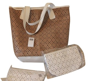 Saks Fifth Avenue Tote Cosmetic Beach Shopping Tote Taupe and white Beach Bag