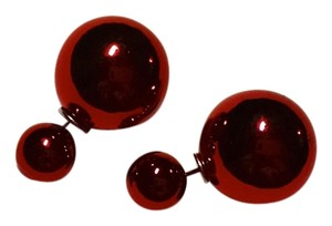 New Double Sided Ball Stud Earrings Large Red J934