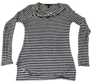 BCBGMAXAZRIA Long Sleeve & Top White & Black Stripes