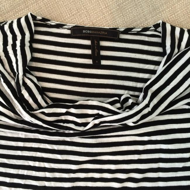BCBGMAXAZRIA Long Sleeve Top White & Black Stripes