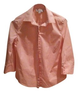 Ann Taylor 4 6 S Small Hidden Buttons Work Office Dressy Traditional Classic Preppy Soft Top pink