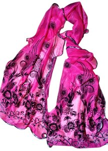 New Saffron Scarf Floral Hot Pink Black 60 inch P1416