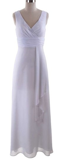 White Chiffon Long Draping V-neck Size:xl Feminine Wedding Dress Size 14 (L)